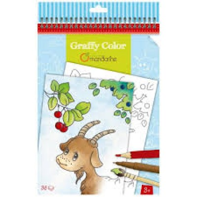 CARNET DE COLORIAGE AVENUE MANDARINE GRAFFY COLOR ANIMAUX DE LA FERME 3 ANS