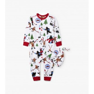 PYJAMA HOCKEY NIGHT  LITTLE BLUE HOUSE ONE PIECE BÉBÉ AVEC TUQUE