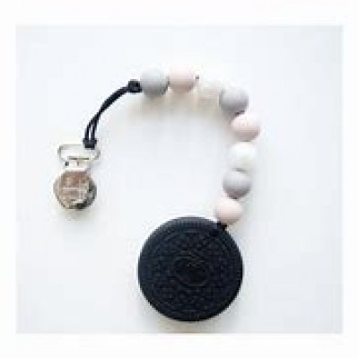 ATTACHE SUCE + JOUET DE DENTITION BUBBLE COOKIE BLANC ET GRIS MARBRÉ LOULOU LOLLIPOP