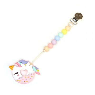 ATTACHE SUCE + JOUET DE DENTITION BEIGNE LICORNE COTTON CANDY LOULOU LOLLIPOP