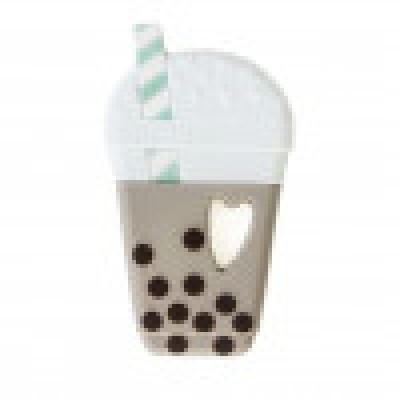 ATTACHE SUCE + JOUET DE DENTITION BUBBLE TEA AQUA ET BLANC LOULOU LOLLIPOP